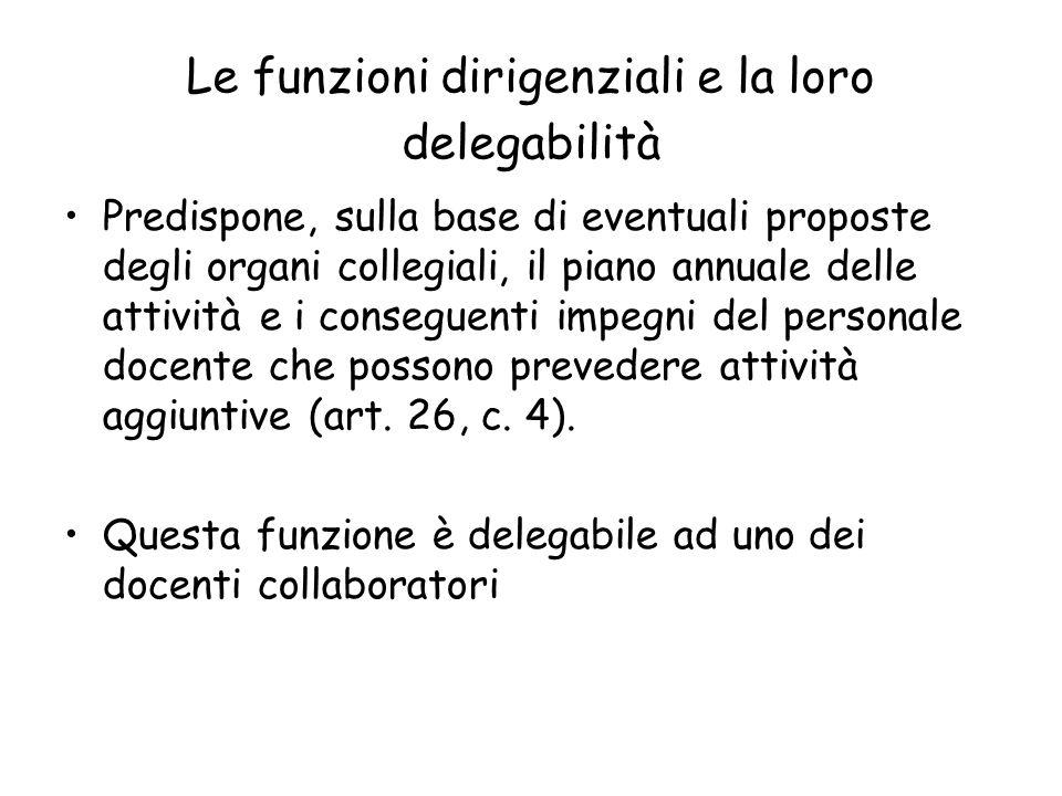Le funzioni dirigenziali e la loro delegabilità Predispone, sulla base di eventuali proposte degli organi collegiali, il piano annuale delle attività