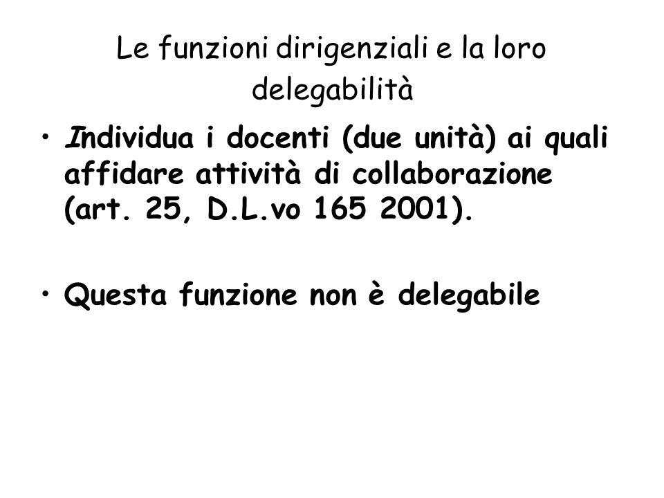 Le funzioni dirigenziali e la loro delegabilità Individua i docenti (due unità) ai quali affidare attività di collaborazione (art. 25, D.L.vo 165 2001