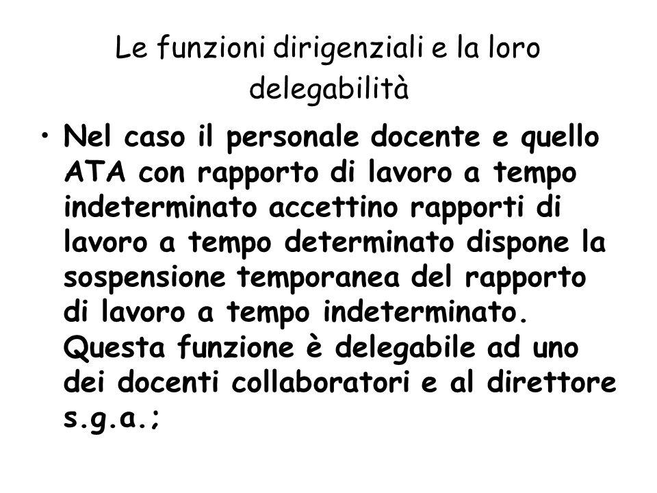 Le funzioni dirigenziali e la loro delegabilità Nel caso il personale docente e quello ATA con rapporto di lavoro a tempo indeterminato accettino rapp