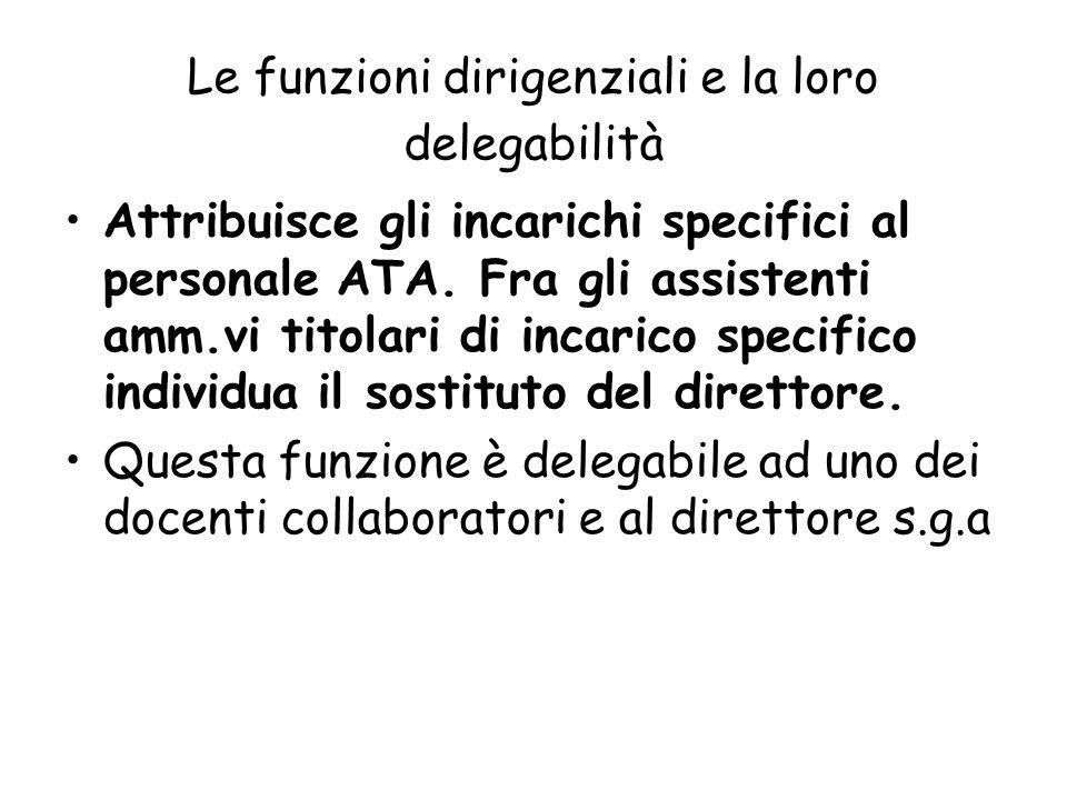 Le funzioni dirigenziali e la loro delegabilità Attribuisce gli incarichi specifici al personale ATA. Fra gli assistenti amm.vi titolari di incarico s
