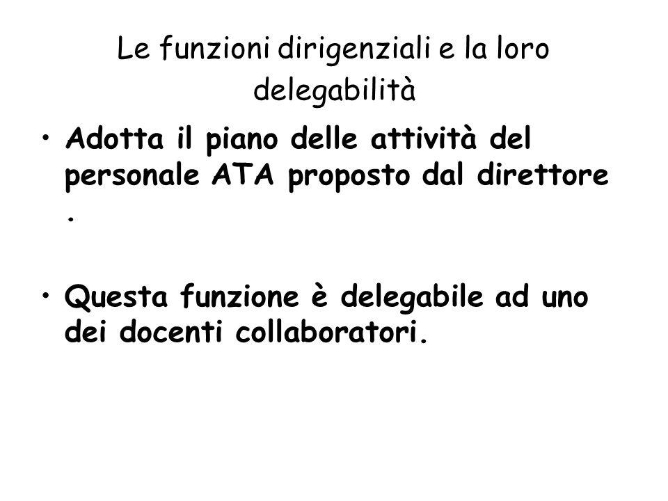 Le funzioni dirigenziali e la loro delegabilità Adotta il piano delle attività del personale ATA proposto dal direttore. Questa funzione è delegabile