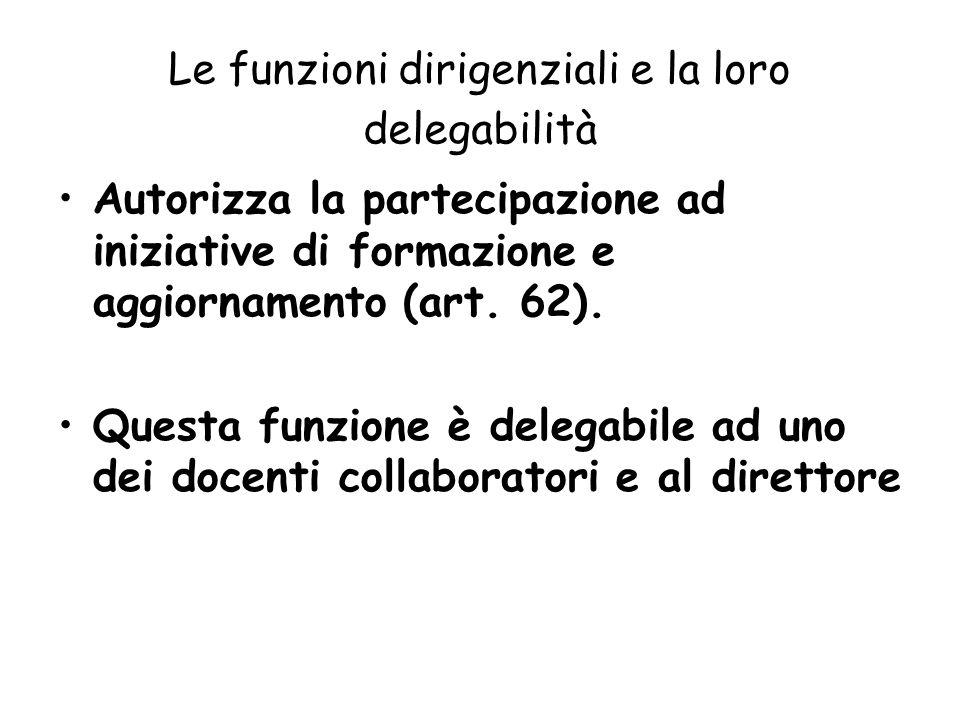 Le funzioni dirigenziali e la loro delegabilità Autorizza la partecipazione ad iniziative di formazione e aggiornamento (art. 62). Questa funzione è d