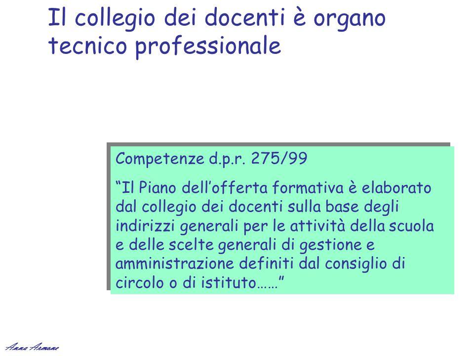 Il collegio dei docenti è organo tecnico professionale Competenze d.p.r. 275/99 Il Piano dellofferta formativa è elaborato dal collegio dei docenti su