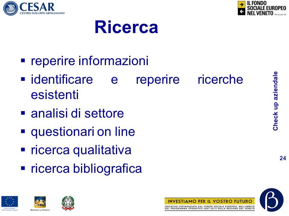 Check up aziendale 24 Ricerca reperire informazioni identificare e reperire ricerche esistenti analisi di settore questionari on line ricerca qualitativa ricerca bibliografica