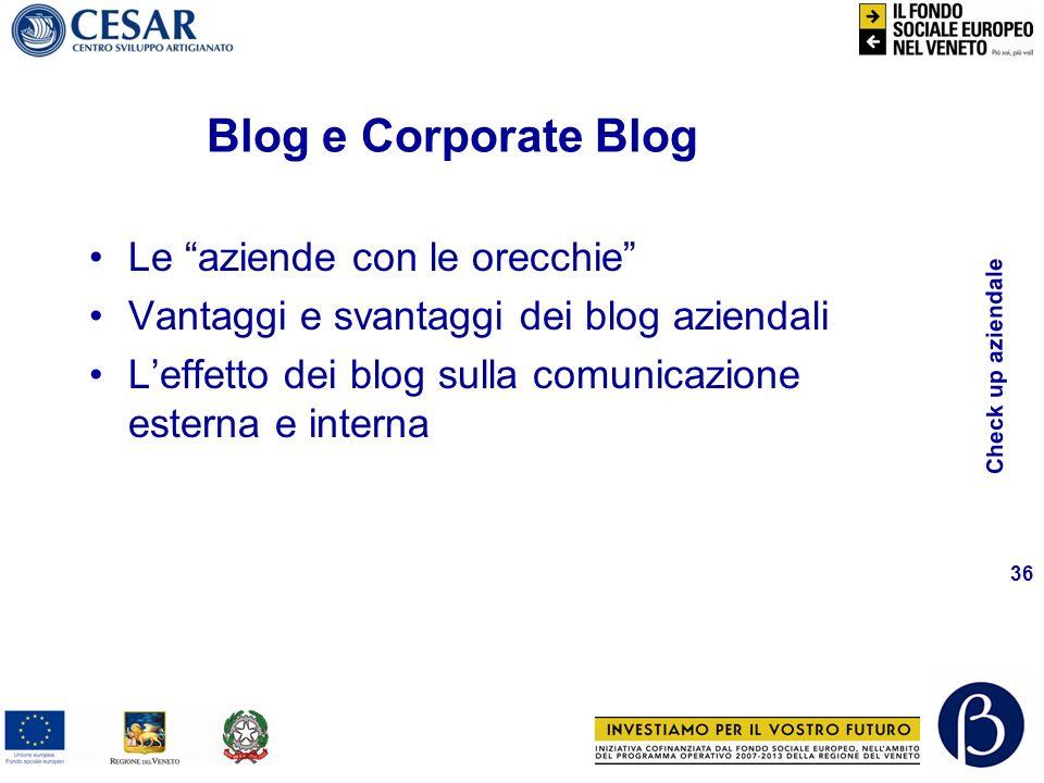 Check up aziendale 36 Le aziende con le orecchie Vantaggi e svantaggi dei blog aziendali Leffetto dei blog sulla comunicazione esterna e interna Blog e Corporate Blog