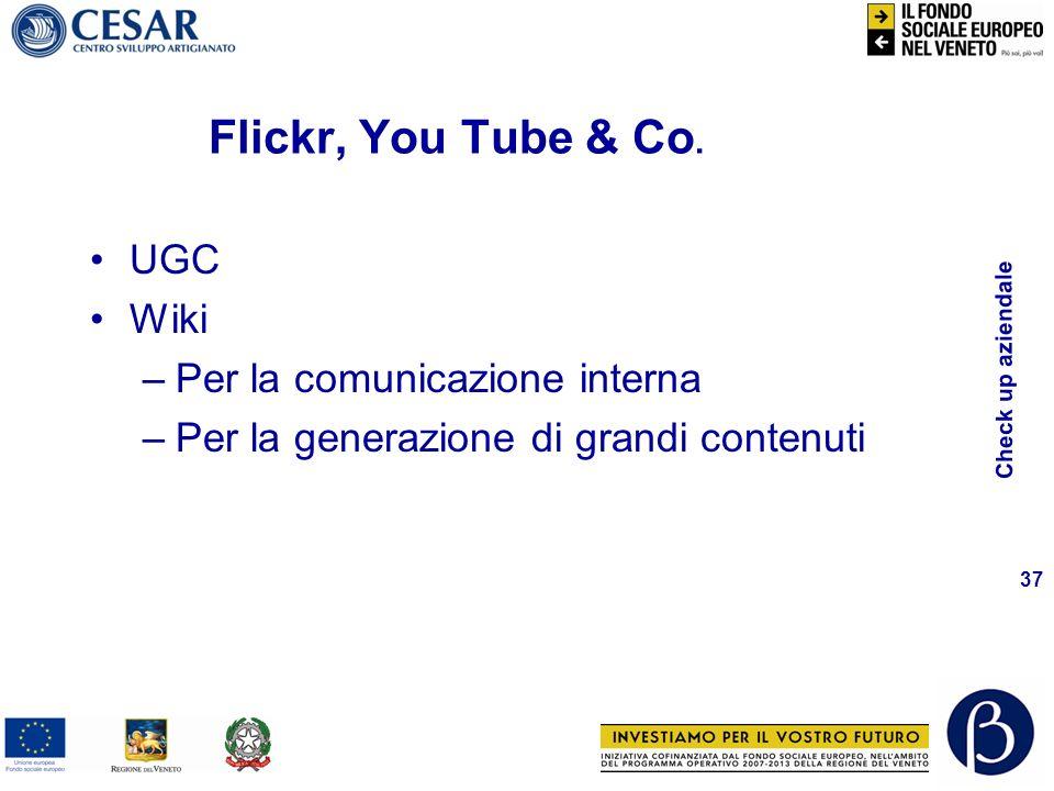 Check up aziendale 37 UGC Wiki –Per la comunicazione interna –Per la generazione di grandi contenuti Flickr, You Tube & Co.