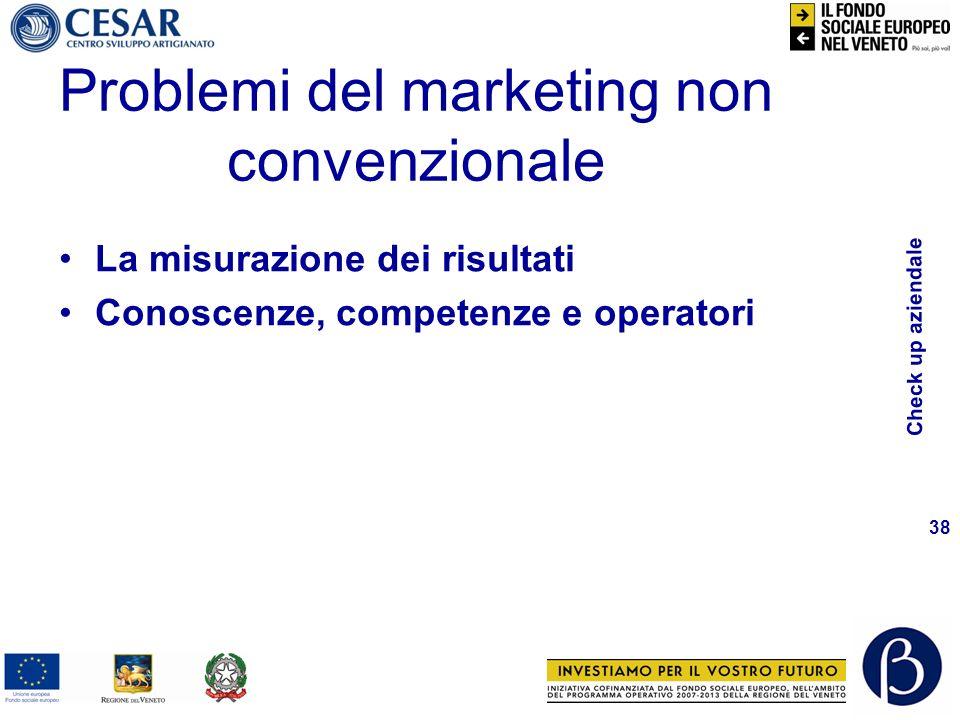 Check up aziendale 38 La misurazione dei risultati Conoscenze, competenze e operatori Problemi del marketing non convenzionale