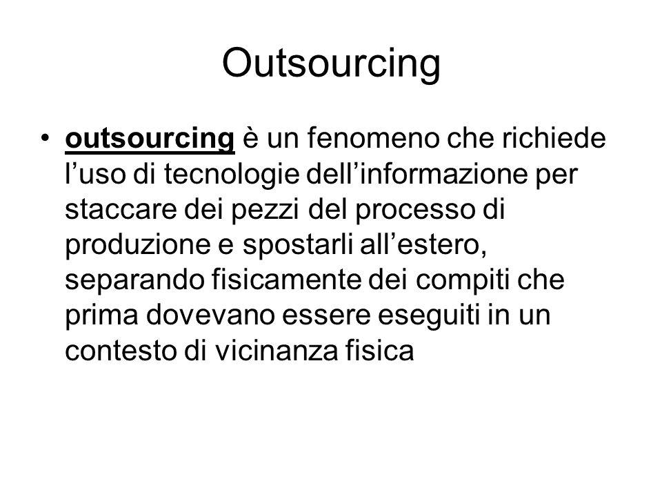 Outsourcing outsourcing è un fenomeno che richiede luso di tecnologie dellinformazione per staccare dei pezzi del processo di produzione e spostarli a