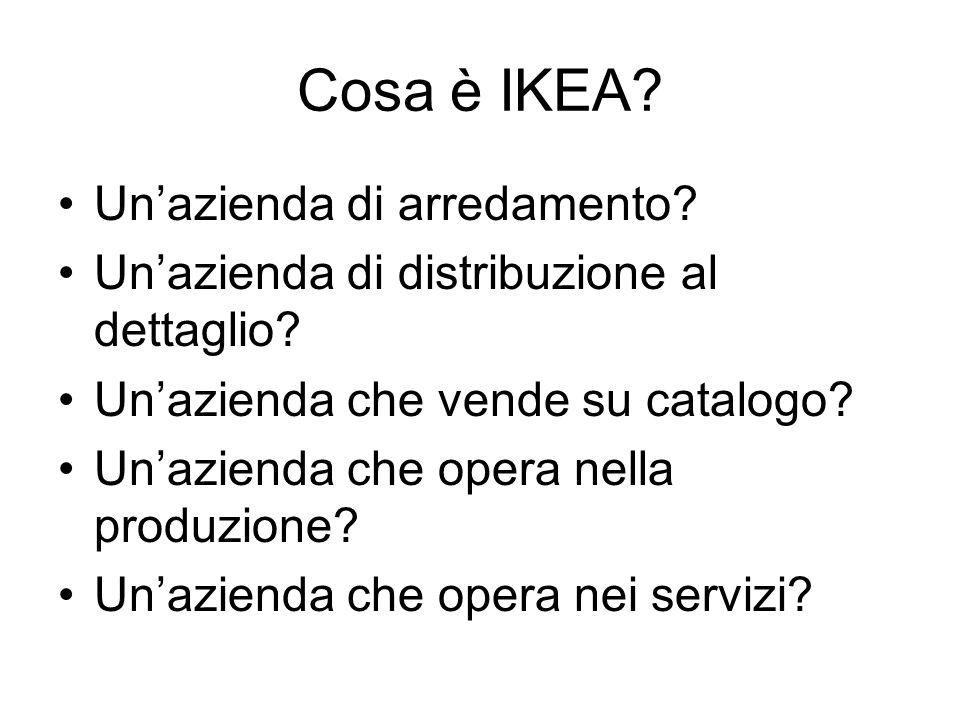 Cosa è IKEA? Unazienda di arredamento? Unazienda di distribuzione al dettaglio? Unazienda che vende su catalogo? Unazienda che opera nella produzione?