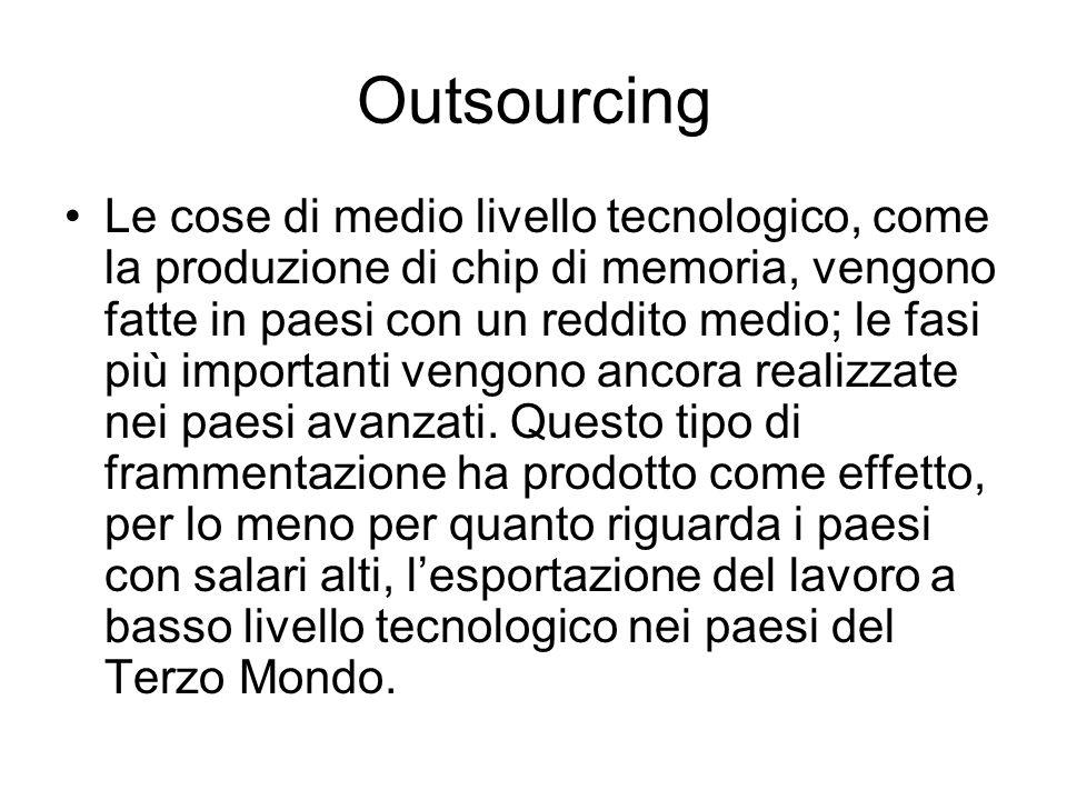 Outsourcing Le cose di medio livello tecnologico, come la produzione di chip di memoria, vengono fatte in paesi con un reddito medio; le fasi più impo