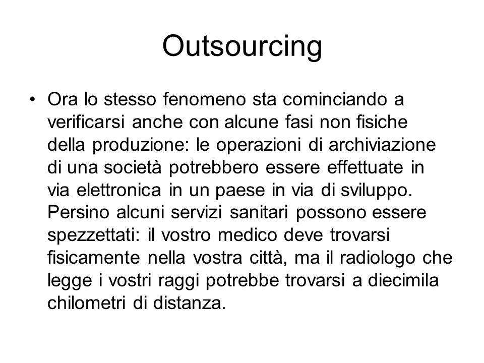 Outsourcing Ora lo stesso fenomeno sta cominciando a verificarsi anche con alcune fasi non fisiche della produzione: le operazioni di archiviazione di