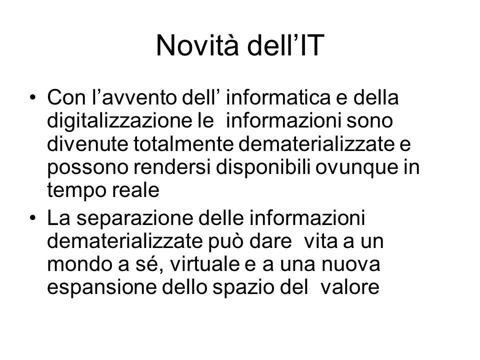 Novità dellIT Con lavvento dell informatica e della digitalizzazione le informazioni sono divenute totalmente dematerializzate e possono rendersi disp