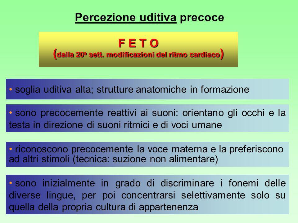 Percezione uditiva precoce I NEONATI sono precocemente reattivi ai suoni: orientano gli occhi e la testa in direzione di suoni ritmici e di voci umane