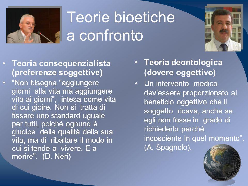 Teorie bioetiche a confronto Teoria consequenzialista (preferenze soggettive) Non bisogna