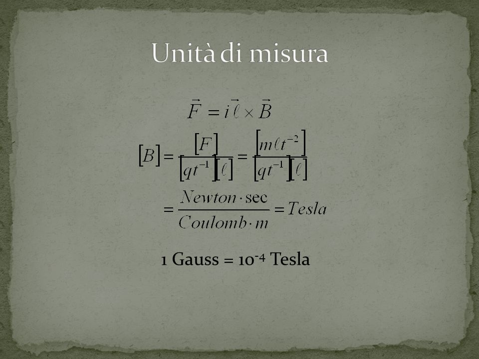 1 Gauss = 10 -4 Tesla