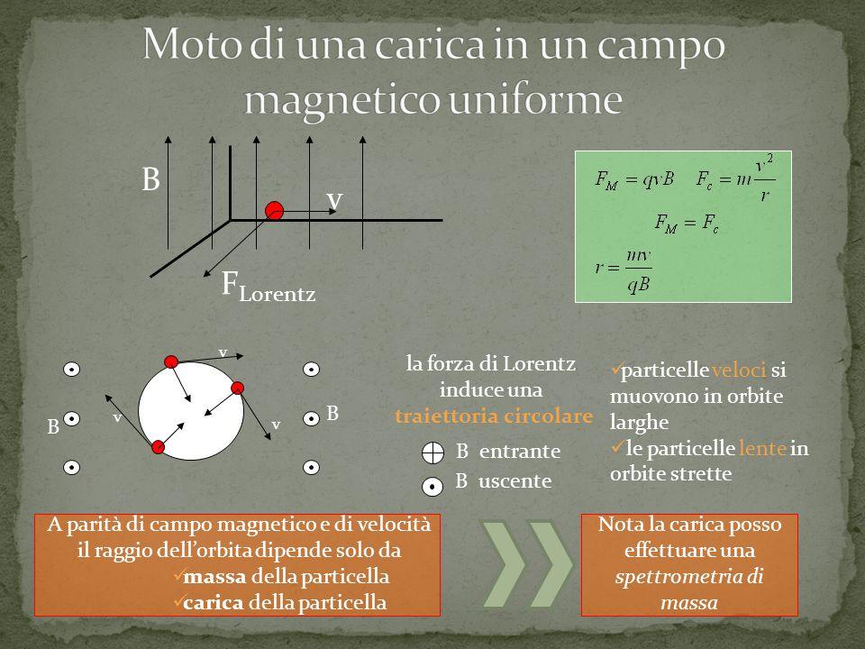 F Lorentz B v v v v F B B F F B uscente B entrante la forza di Lorentz induce una traiettoria circolare particelle veloci si muovono in orbite larghe