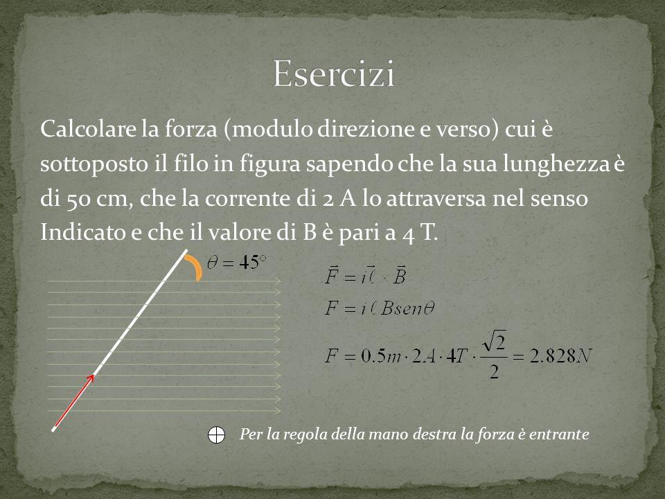Calcolare la forza (modulo direzione e verso) cui è sottoposto il filo in figura sapendo che la sua lunghezza è di 50 cm, che la corrente di 2 A lo at