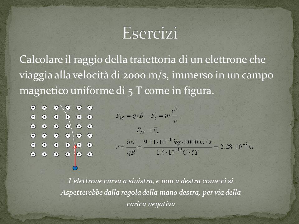 Calcolare il raggio della traiettoria di un elettrone che viaggia alla velocità di 2000 m/s, immerso in un campo magnetico uniforme di 5 T come in fig