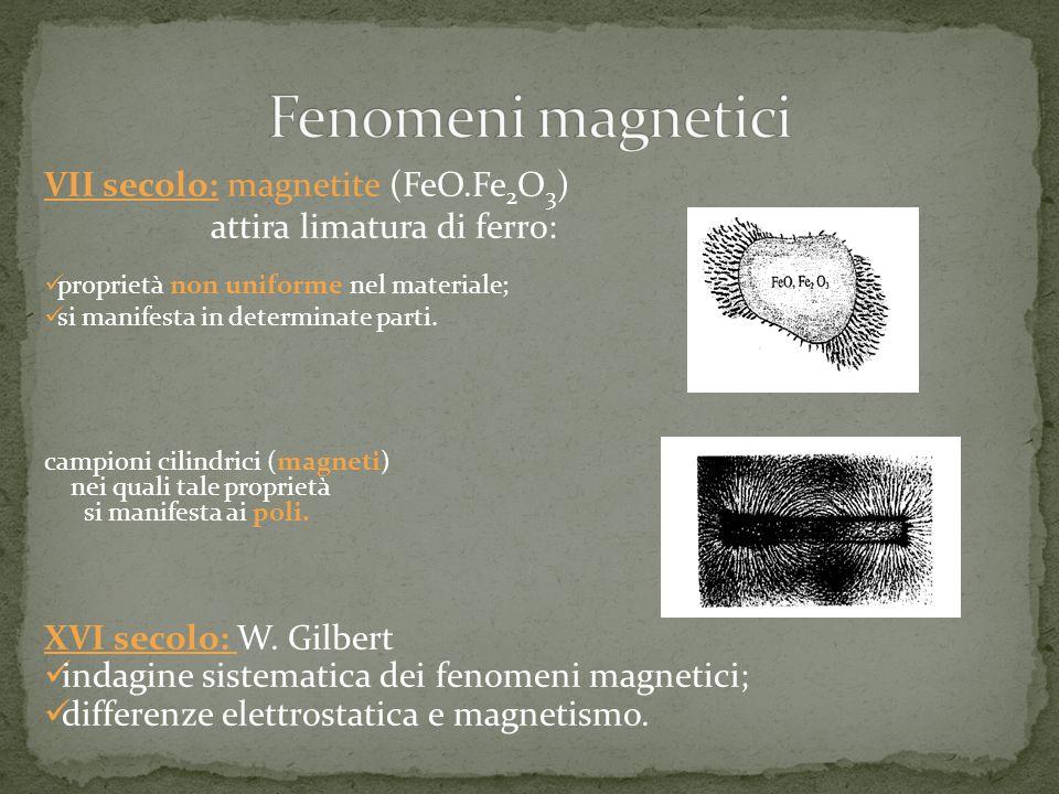 VII secolo: magnetite (FeO.Fe 2 O 3 ) attira limatura di ferro: proprietà non uniforme nel materiale; si manifesta in determinate parti. campioni cili