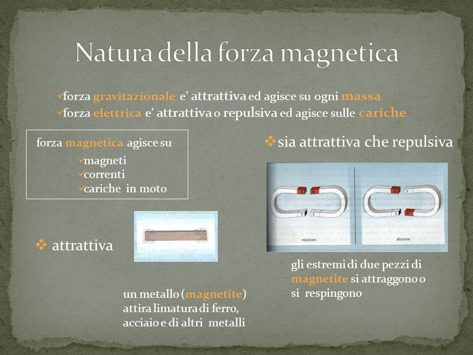forza gravitazionale e attrattiva ed agisce su ogni massa forza elettrica e attrattiva o repulsiva ed agisce sulle cariche forza magnetica agisce su m