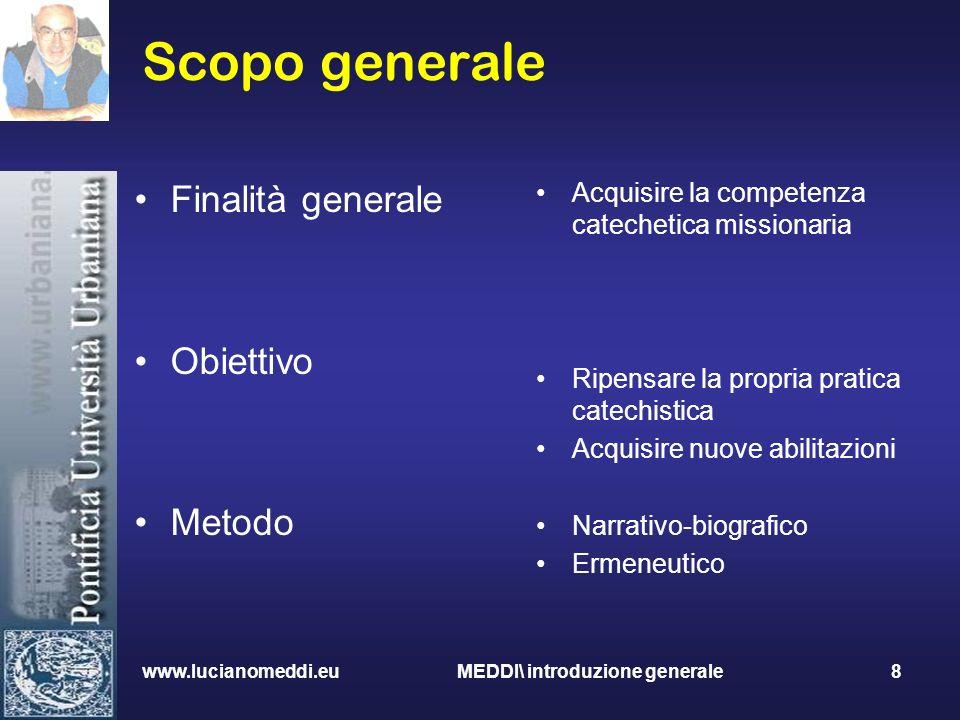 Scopo generale Finalità generale Obiettivo Metodo Acquisire la competenza catechetica missionaria Ripensare la propria pratica catechistica Acquisire