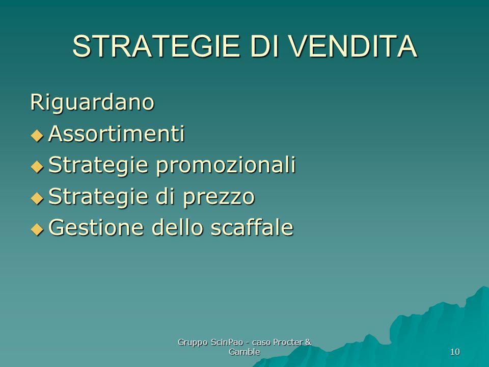 Gruppo ScinPao - caso Procter & Gamble 10 STRATEGIE DI VENDITA Riguardano Assortimenti Assortimenti Strategie promozionali Strategie promozionali Stra
