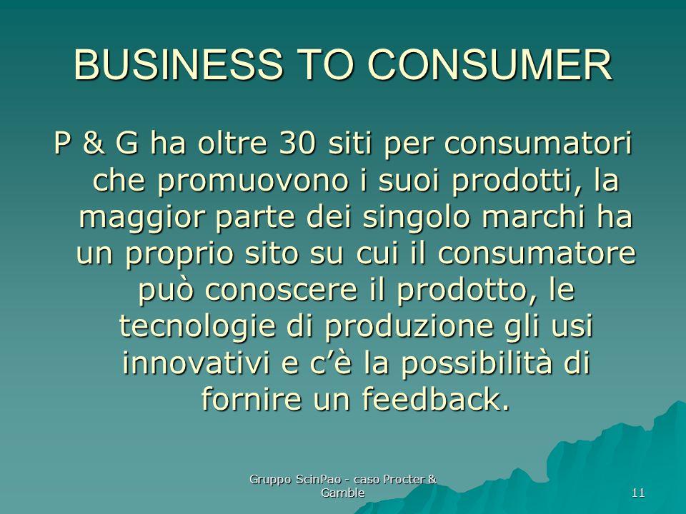 Gruppo ScinPao - caso Procter & Gamble 11 BUSINESS TO CONSUMER P & G ha oltre 30 siti per consumatori che promuovono i suoi prodotti, la maggior parte