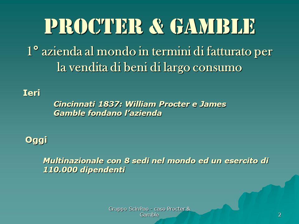 Gruppo ScinPao - caso Procter & Gamble 2 Procter & Gamble 1° azienda al mondo in termini di fatturato per la vendita di beni di largo consumo Cincinna