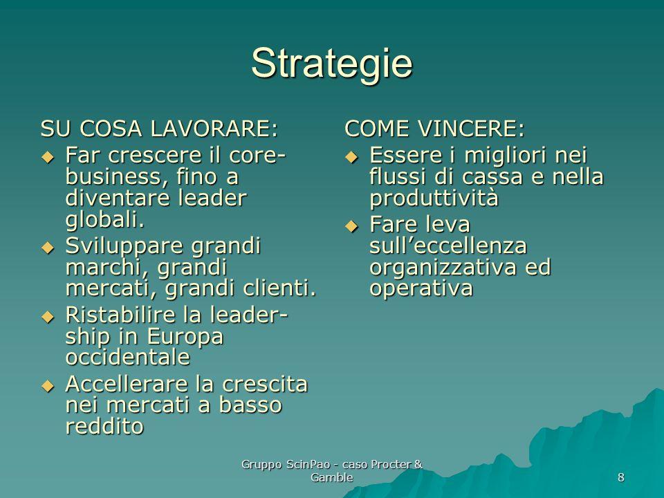 Gruppo ScinPao - caso Procter & Gamble 8 Strategie SU COSA LAVORARE: Far crescere il core- business, fino a diventare leader globali. Far crescere il
