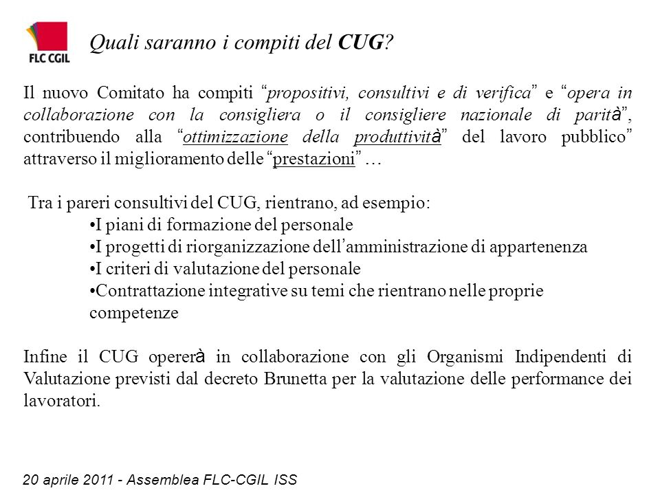 20 aprile 2011 - Assemblea FLC-CGIL ISS Quali saranno i compiti del CUG.