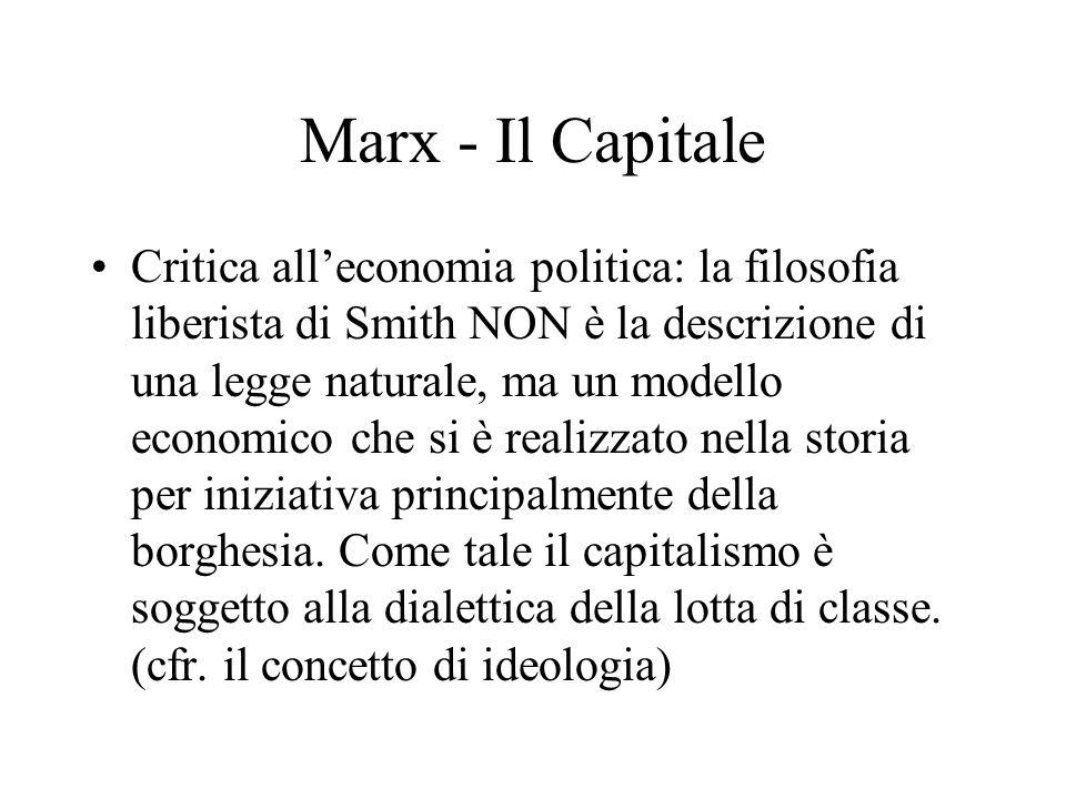 Marx - Il Capitale Critica alleconomia politica: la filosofia liberista di Smith NON è la descrizione di una legge naturale, ma un modello economico che si è realizzato nella storia per iniziativa principalmente della borghesia.