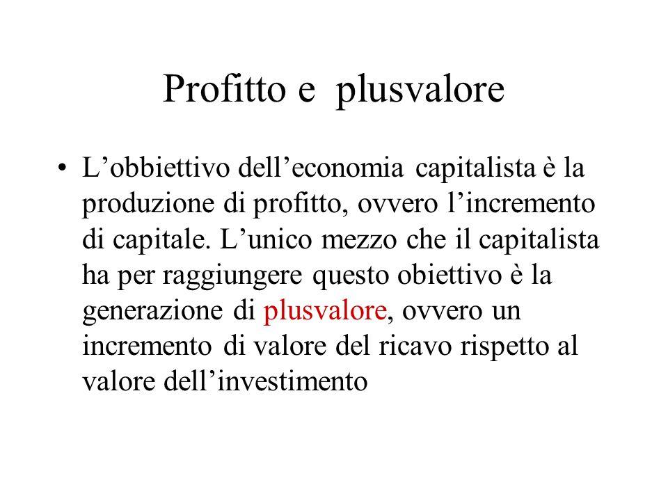 Profitto e plusvalore Lobbiettivo delleconomia capitalista è la produzione di profitto, ovvero lincremento di capitale. Lunico mezzo che il capitalist