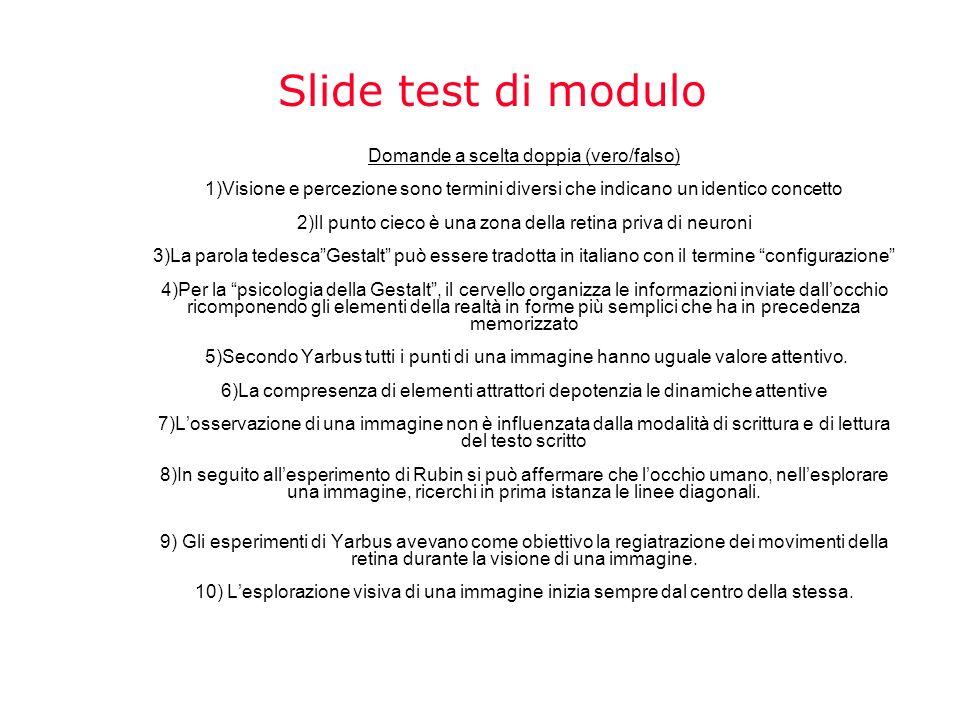 Slide test di modulo Domande a scelta doppia (vero/falso) 1)Visione e percezione sono termini diversi che indicano un identico concetto 2)Il punto cie
