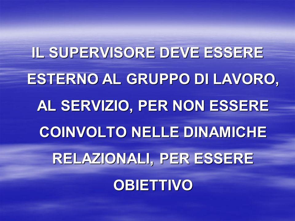 IL SUPERVISORE DEVE ESSERE ESTERNO AL GRUPPO DI LAVORO, AL SERVIZIO, PER NON ESSERE COINVOLTO NELLE DINAMICHE RELAZIONALI, PER ESSERE OBIETTIVO