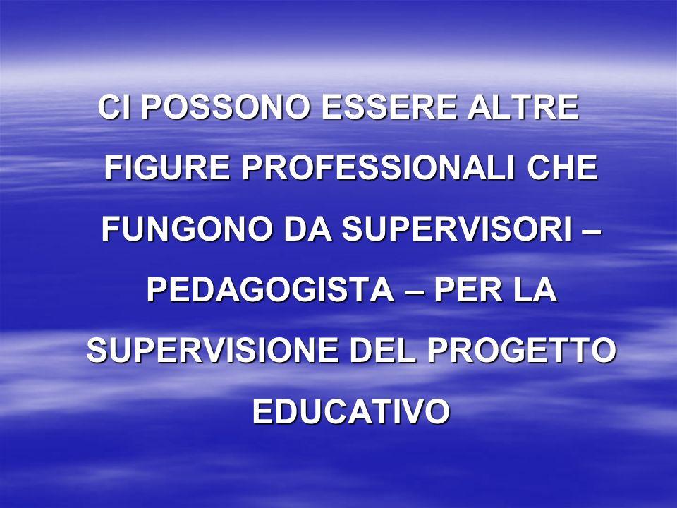 CI POSSONO ESSERE ALTRE FIGURE PROFESSIONALI CHE FUNGONO DA SUPERVISORI – PEDAGOGISTA – PER LA SUPERVISIONE DEL PROGETTO EDUCATIVO
