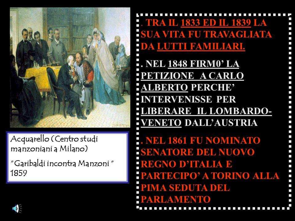 Acquarello (Centro studi manzoniani a Milano) Garibaldi incontra Manzoni 1859.