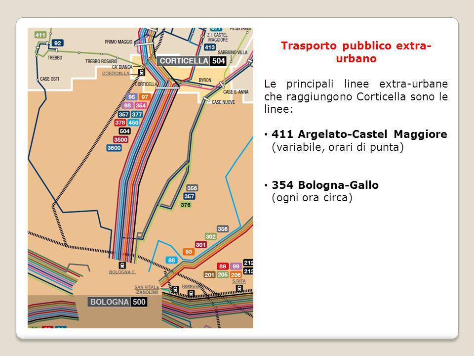 Trasporto pubblico extra- urbano Le principali linee extra-urbane che raggiungono Corticella sono le linee: 411 Argelato-Castel Maggiore (variabile, o