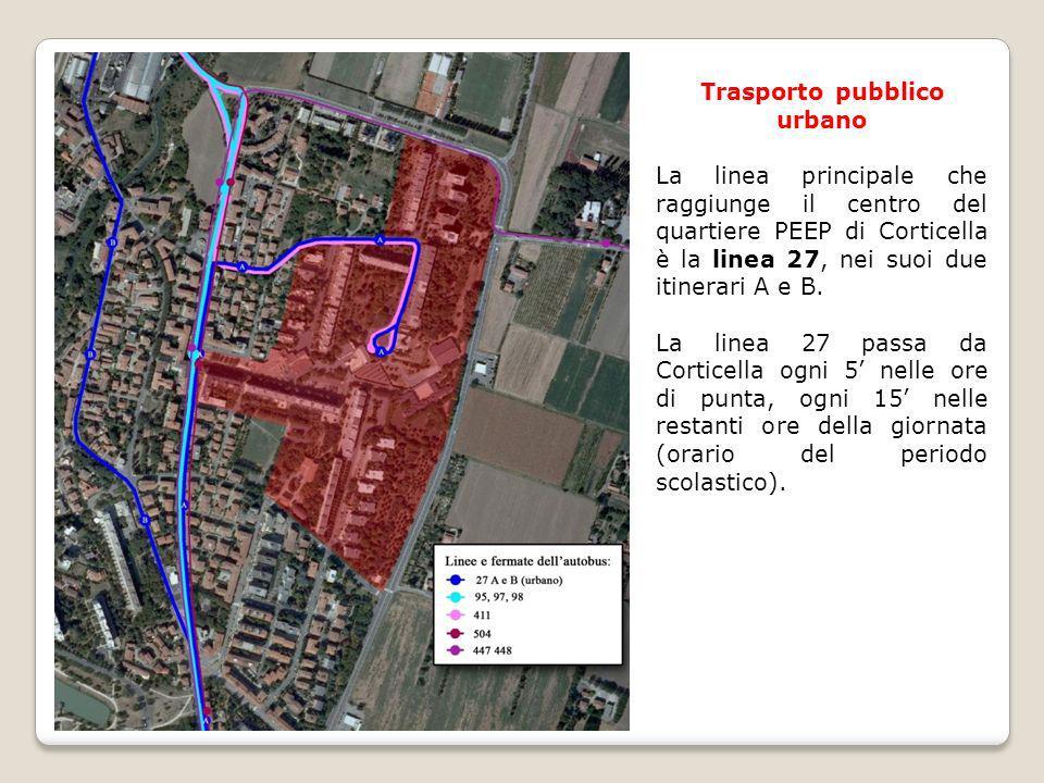 Trasporto pubblico urbano La linea principale che raggiunge il centro del quartiere PEEP di Corticella è la linea 27, nei suoi due itinerari A e B. La