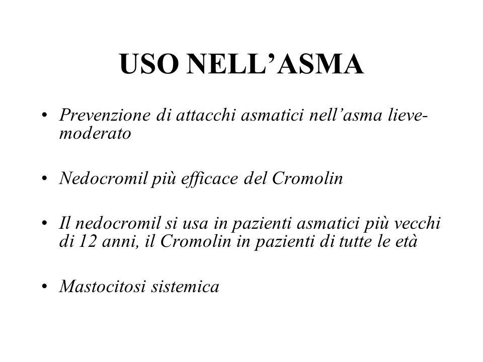 USO NELLASMA Prevenzione di attacchi asmatici nellasma lieve- moderato Nedocromil più efficace del Cromolin Il nedocromil si usa in pazienti asmatici