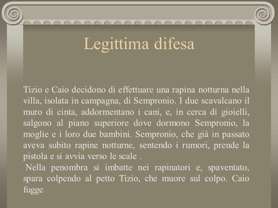 Legittima difesa Tizio e Caio decidono di effettuare una rapina notturna nella villa, isolata in campagna, di Sempronio.