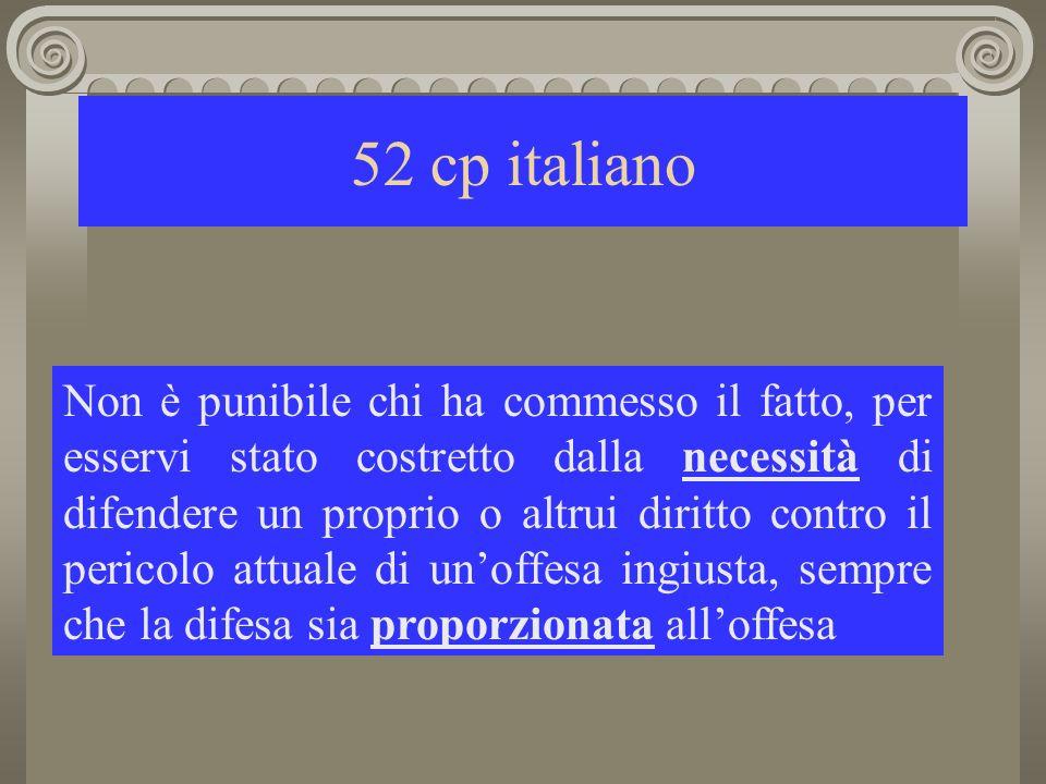 52 cp italiano Non è punibile chi ha commesso il fatto, per esservi stato costretto dalla necessità di difendere un proprio o altrui diritto contro il pericolo attuale di unoffesa ingiusta, sempre che la difesa sia proporzionata alloffesa