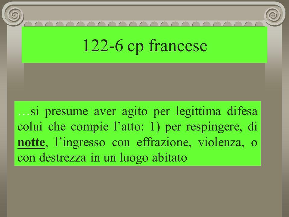 122-6 cp francese …si presume aver agito per legittima difesa colui che compie latto: 1) per respingere, di notte, lingresso con effrazione, violenza, o con destrezza in un luogo abitato