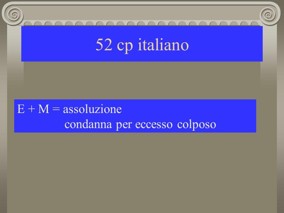 52 cp italiano E + M = assoluzione condanna per eccesso colposo
