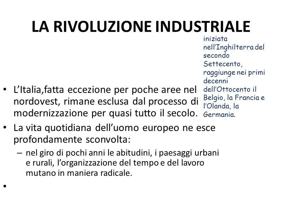 LA RIVOLUZIONE INDUSTRIALE LItalia,fatta eccezione per poche aree nel nordovest, rimane esclusa dal processo di modernizzazione per quasi tutto il sec