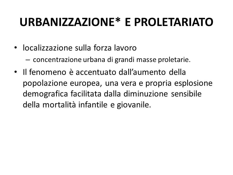 URBANIZZAZIONE* E PROLETARIATO localizzazione sulla forza lavoro – concentrazione urbana di grandi masse proletarie. Il fenomeno è accentuato dallaume
