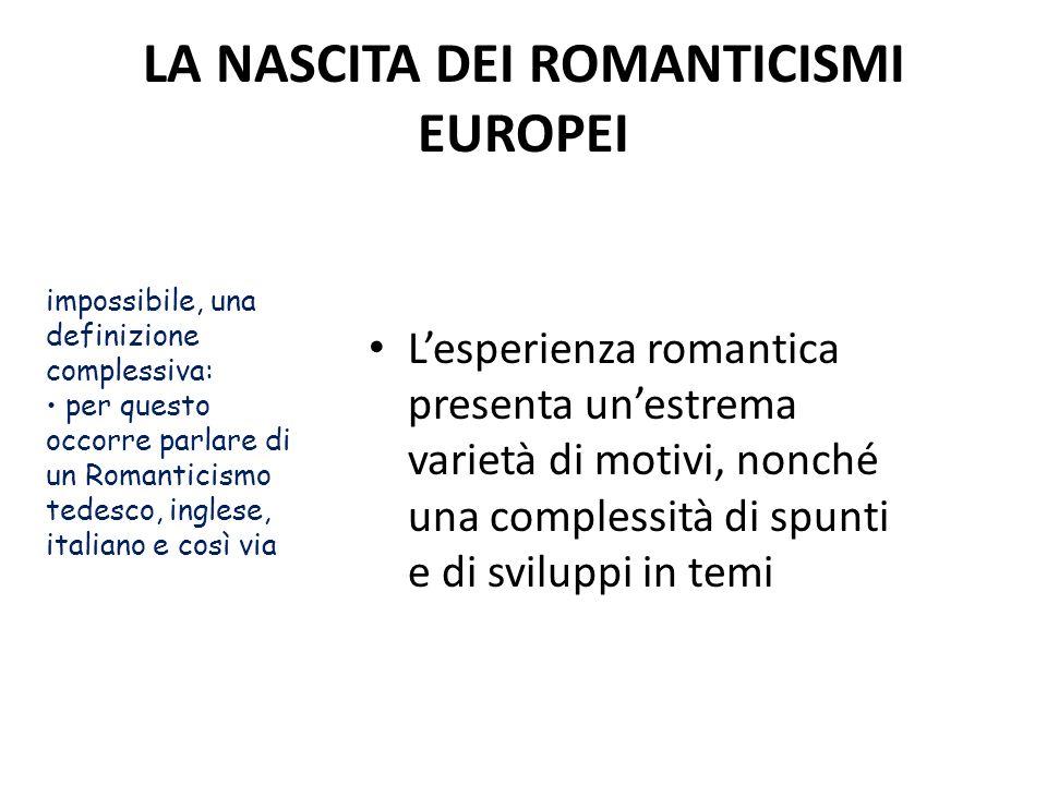 LA NASCITA DEI ROMANTICISMI EUROPEI Lesperienza romantica presenta unestrema varietà di motivi, nonché una complessità di spunti e di sviluppi in temi