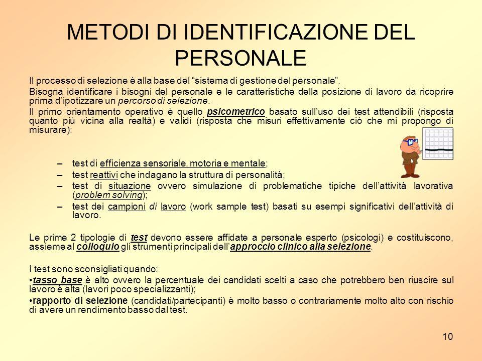 10 METODI DI IDENTIFICAZIONE DEL PERSONALE Il processo di selezione è alla base del sistema di gestione del personale.