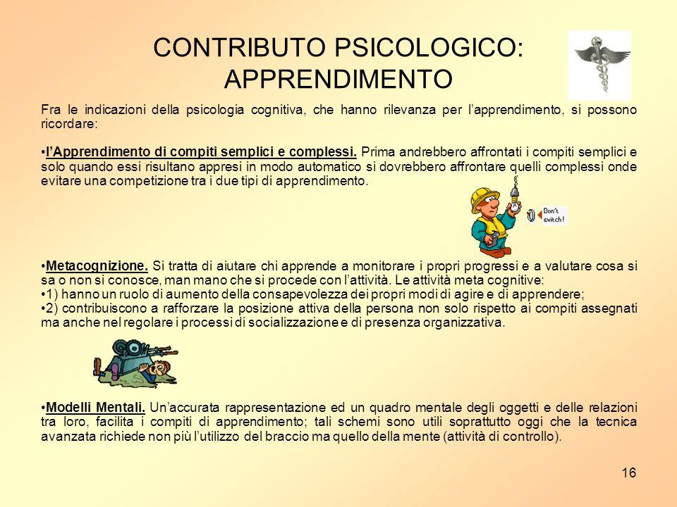 16 Fra le indicazioni della psicologia cognitiva, che hanno rilevanza per lapprendimento, si possono ricordare: lApprendimento di compiti semplici e complessi.
