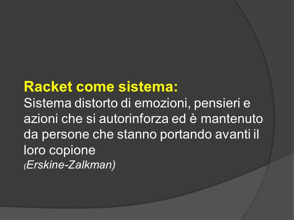 Racket come sistema: Sistema distorto di emozioni, pensieri e azioni che si autorinforza ed è mantenuto da persone che stanno portando avanti il loro