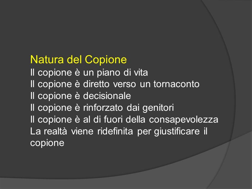 Natura del Copione Il copione è un piano di vita Il copione è diretto verso un tornaconto Il copione è decisionale Il copione è rinforzato dai genitor